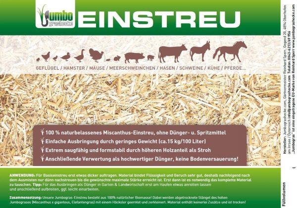 Etikette, Miscanthus-Jumbogras Einstreu-Produkte